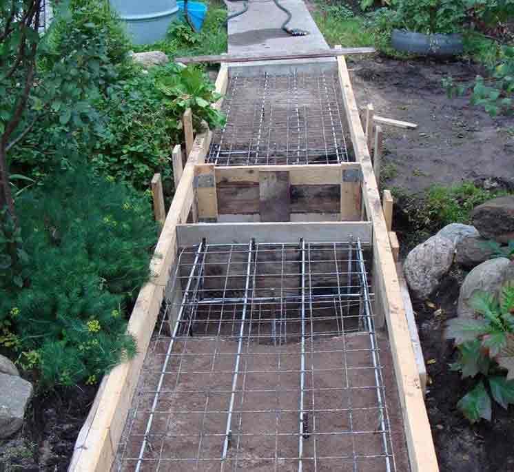 Дорожки из бетона: опалубка и арматурная сетка