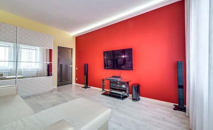 Вариант отделки квартиры в красном цвете