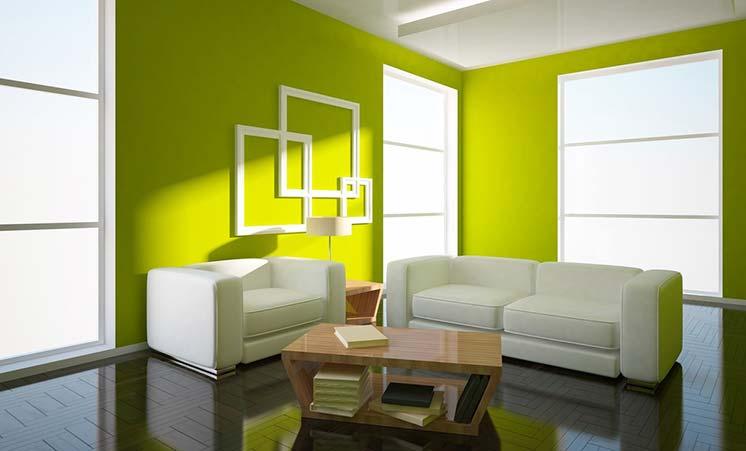 Вариант отделки гостиной квартиры в зеленом цвете